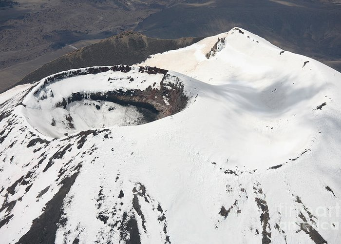 Compound Volcano Greeting Card featuring the photograph Snow-covered Ngauruhoe Cone, Mount by Richard Roscoe
