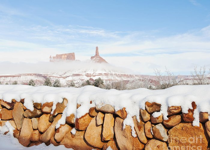 Bleak Greeting Card featuring the photograph Snow Covered Rock Wall by Thom Gourley/Flatbread Images, LLC