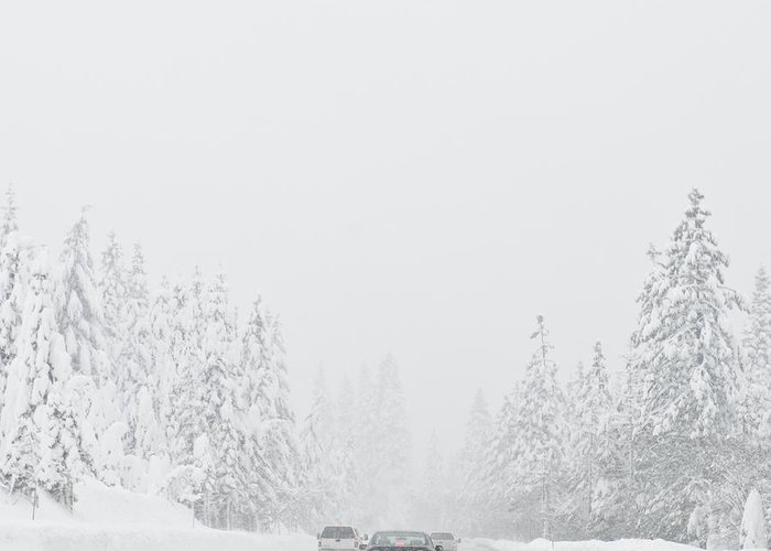 Auto Greeting Card featuring the photograph Snow-covered Rural Highway by Dave & Les Jacobs