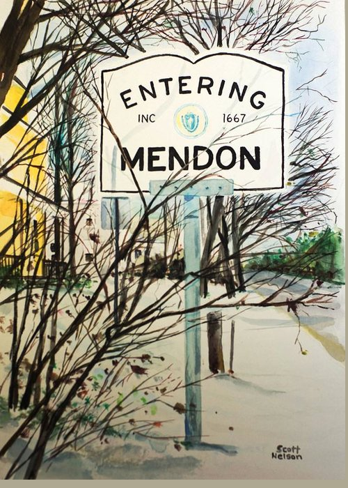 Mendon Ma Greeting Card featuring the painting Snow Day by Scott Nelson