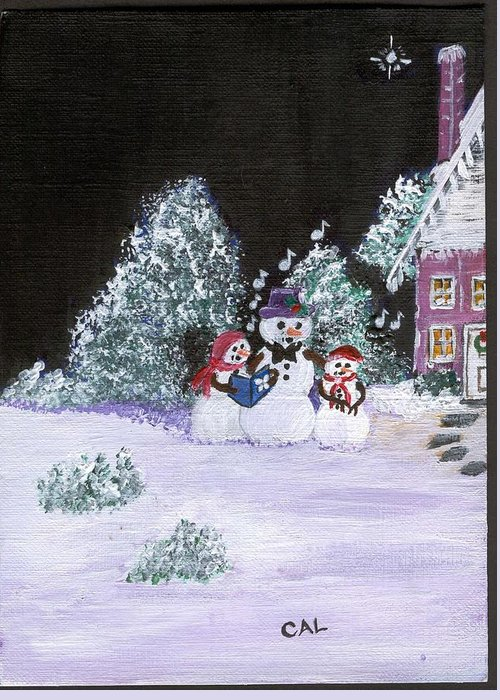 Landscape Greeting Card featuring the painting Snow Family Singers by Carol Lunsford