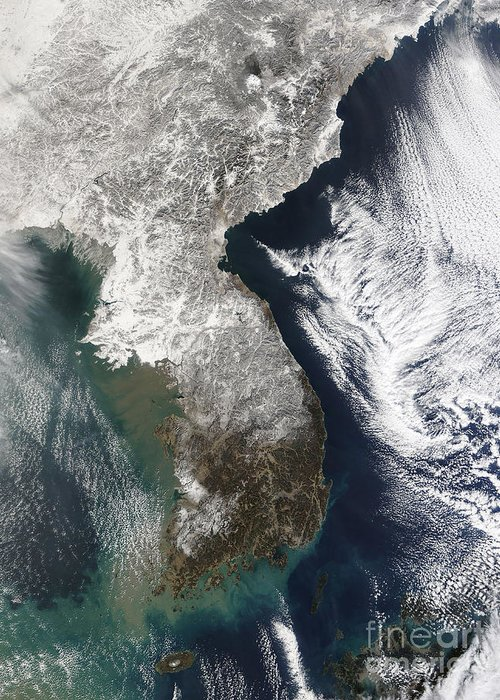 Satellite View Greeting Card featuring the photograph Snow In Korea by Stocktrek Images