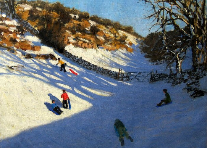 Fields Greeting Card featuring the painting Snow In The Valley by Andrew Macara