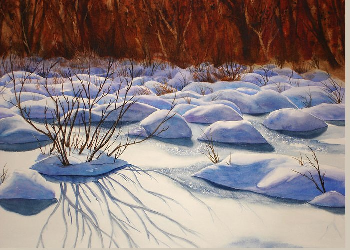 Snow Greeting Card featuring the painting Snow Mounds by Daydre Hamilton