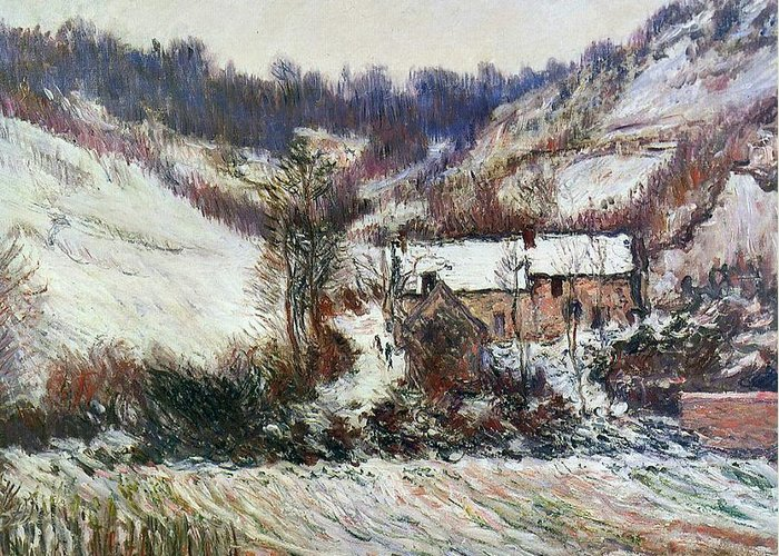 Snow Near Falaise Greeting Card featuring the painting Snow Near Falaise by Claude Monet