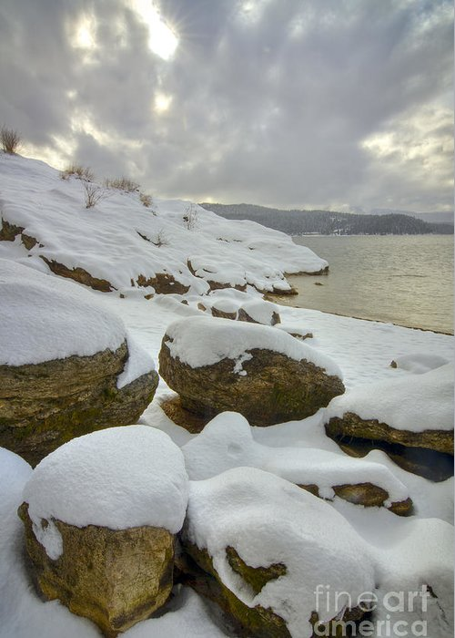 Snow Covered Hill Greeting Cards