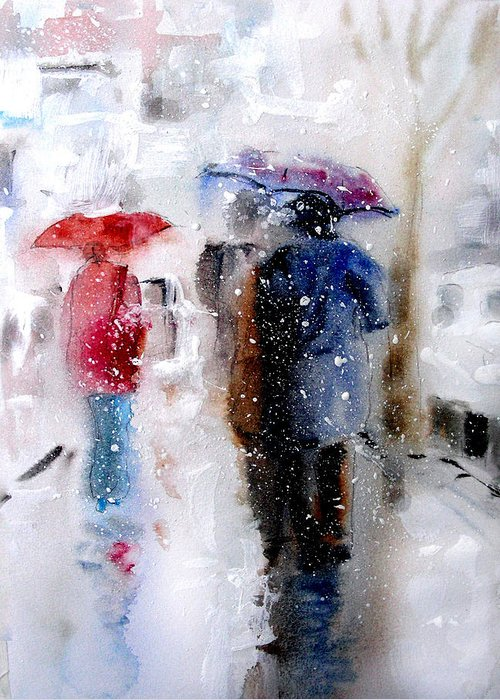 Snow Greeting Card featuring the painting Snowing In The City by Steven Ponsford