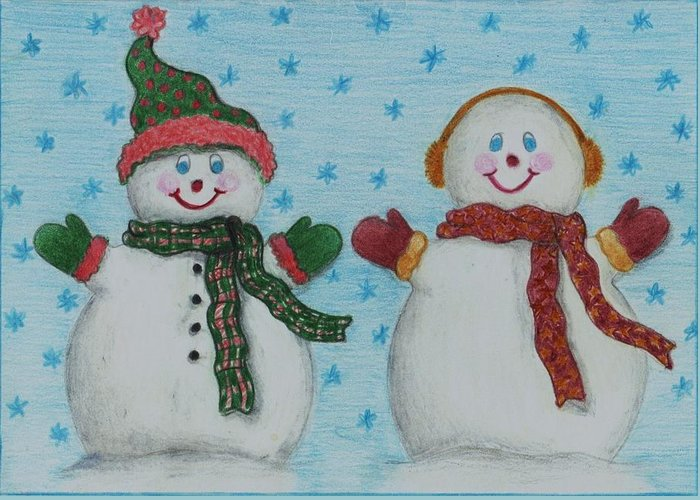 Snowmen Greeting Card featuring the drawing Snowmen 2 by Jessica Hallberg