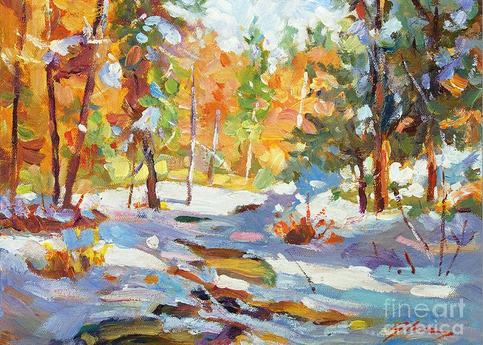 Impressionist Greeting Card featuring the painting Snowy Autumn - Plein Air by David Lloyd Glover