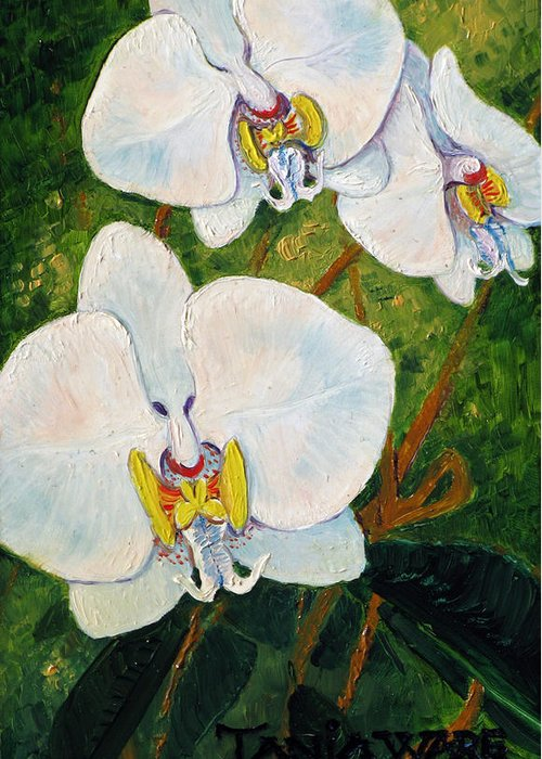 Orchids Greeting Card featuring the painting Snowy Ladies by Tanja Ware