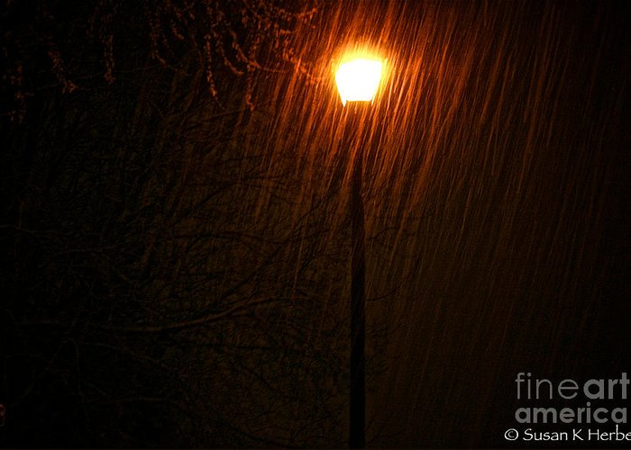 Snow Scene Greeting Card featuring the photograph Snowy Night by Susan Herber