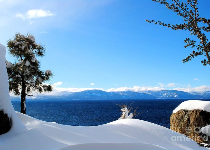 Lake Greeting Card featuring the photograph Snowy Tahoe by Sean McGuire