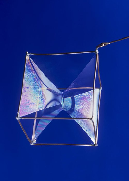 Bubble Greeting Card featuring the photograph Soap Films On A Cube by Andrew Lambert Photography