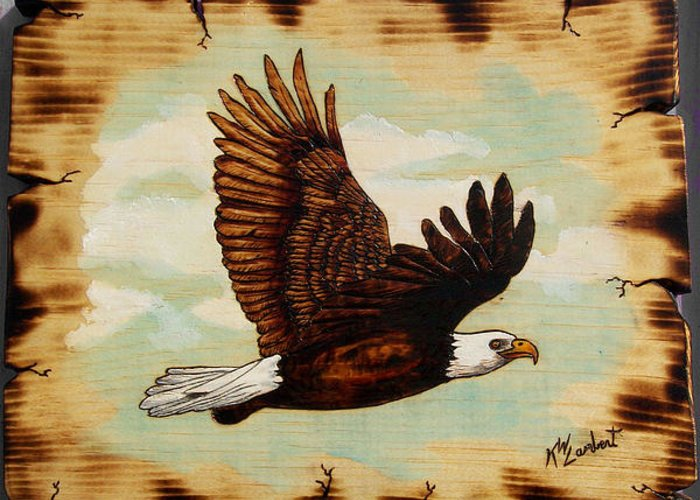 Eagle Greeting Card featuring the mixed media Soaring by Kenneth Lambert