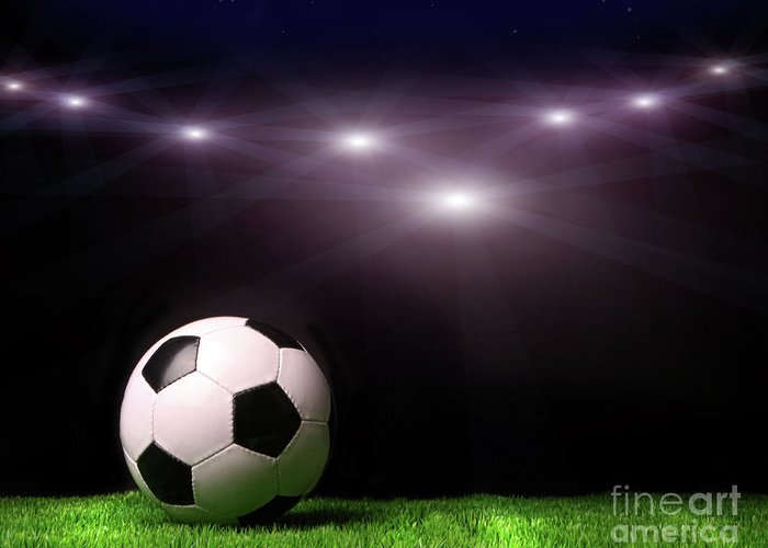 Abstract Greeting Card featuring the photograph Soccer Ball On Grass Against Black by Sandra Cunningham