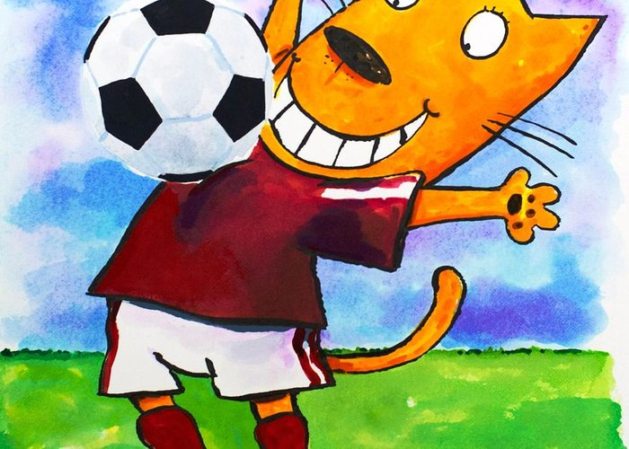 Cat Greeting Card featuring the painting Soccer Cat 3 by Scott Nelson