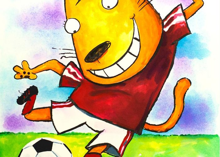 Cat Greeting Card featuring the painting Soccer Cat by Scott Nelson
