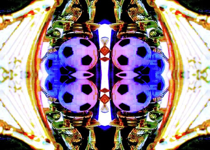 Abstract Greeting Card featuring the digital art Soccer Memorabilla 4 by Romy Galicia