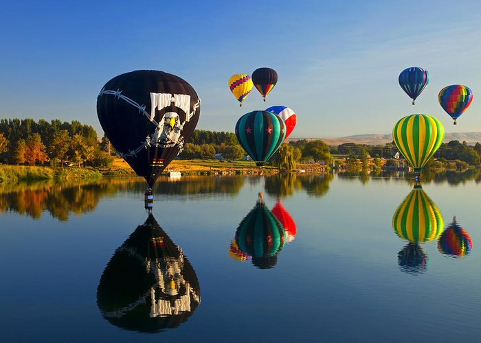 Balloons Greeting Card featuring the photograph Soft Landings by Mike Dawson