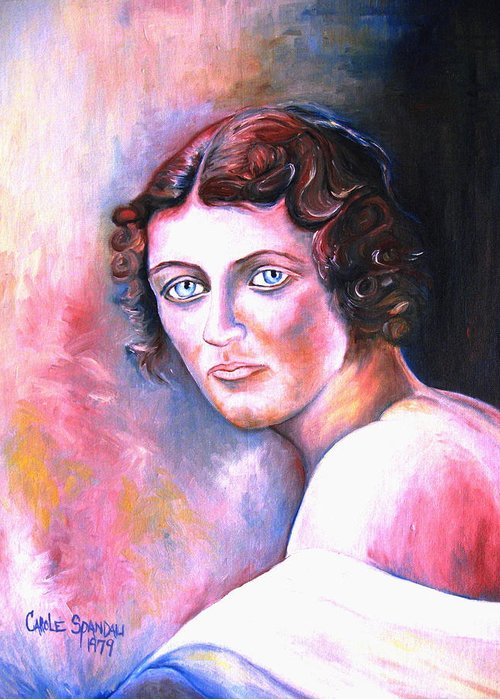Portrait Greeting Card featuring the painting Soft Shoulder by Carole Spandau