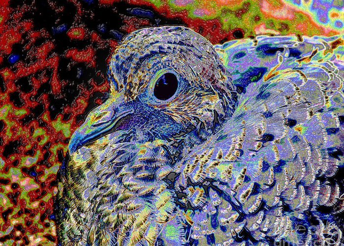 Dove Greeting Card featuring the mixed media Solar Dove by Tammy Ishmael - Eizman