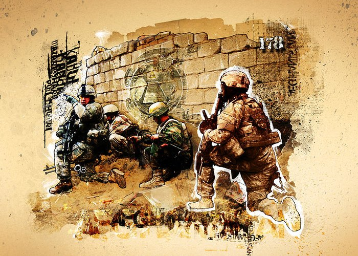 War Greeting Card featuring the photograph Soldiers On The Wall by Jeff Steed