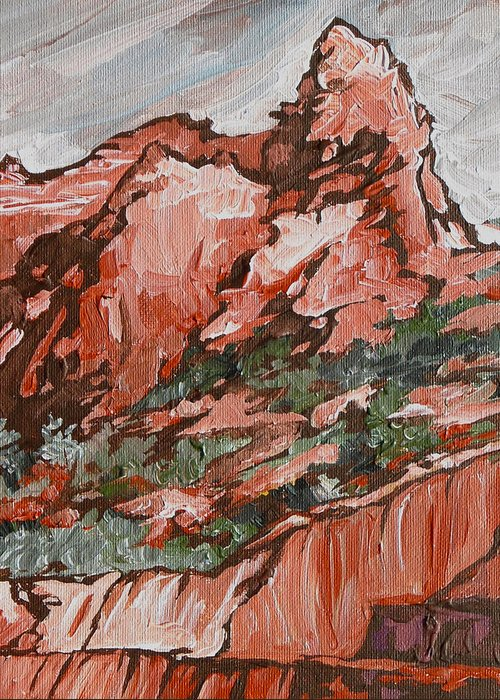 Sedona Greeting Card featuring the painting Soldiers Pass Trail by Sandy Tracey