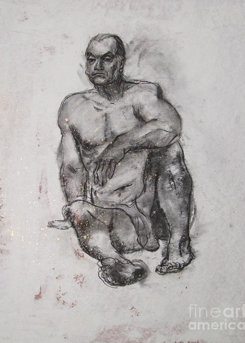 Nude Greeting Card featuring the drawing Solidity by Julianna Ziegler