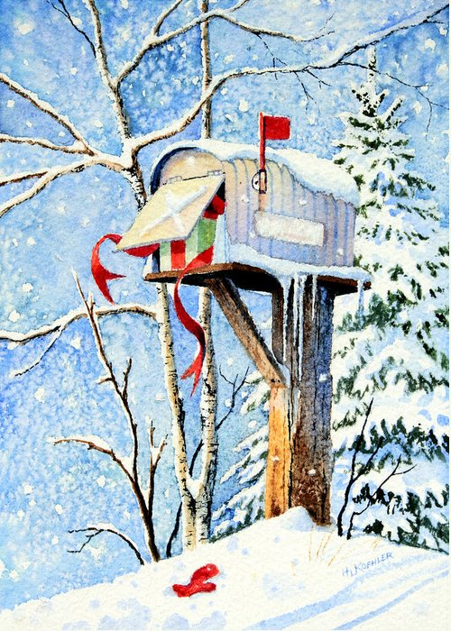Country Christmas Mailbox Greeting Card featuring the painting Somebody Was Snooping by Hanne Lore Koehler