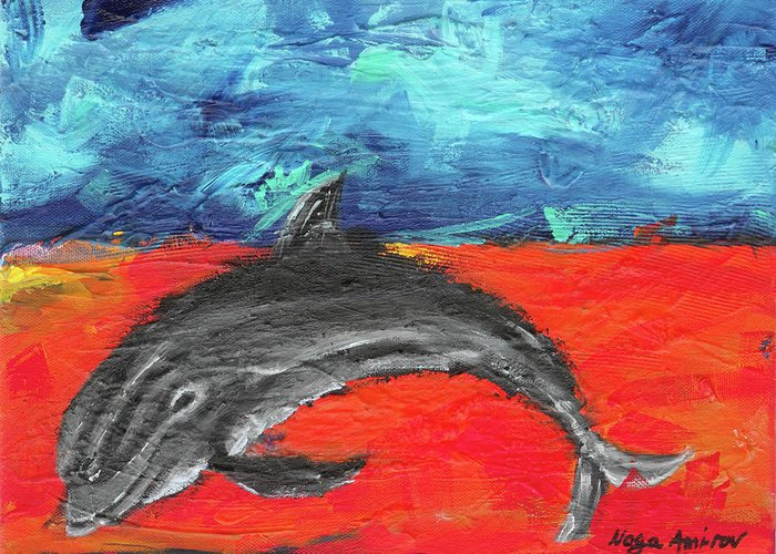 Dolphin Greeting Card featuring the painting Something Good by Noga Ami-rav