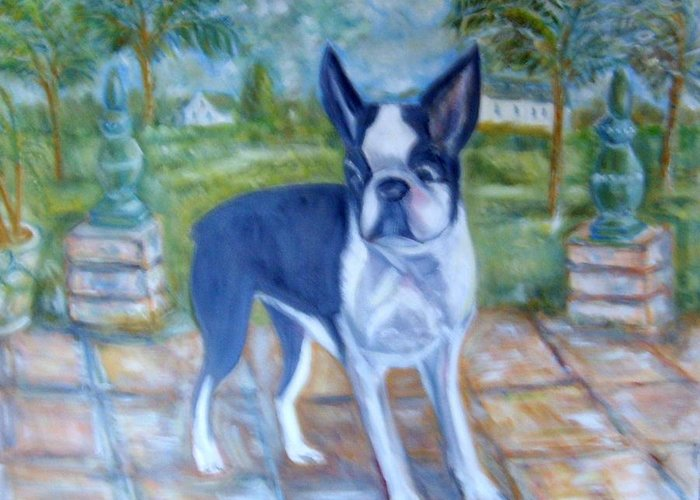 Landscape With Boston Terrier Dog -black And White Greeting Card featuring the painting Sophie-Mae by Joseph Sandora Jr
