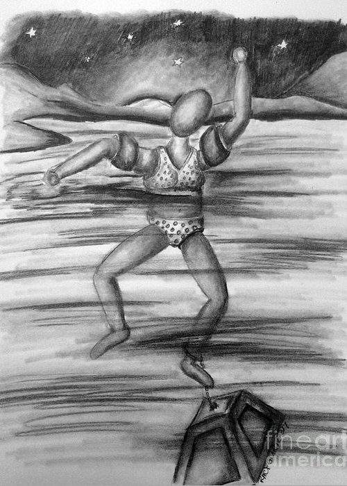 Greeting Card featuring the drawing S.o.s. Sinking Or Swimming by Tracy Glantz