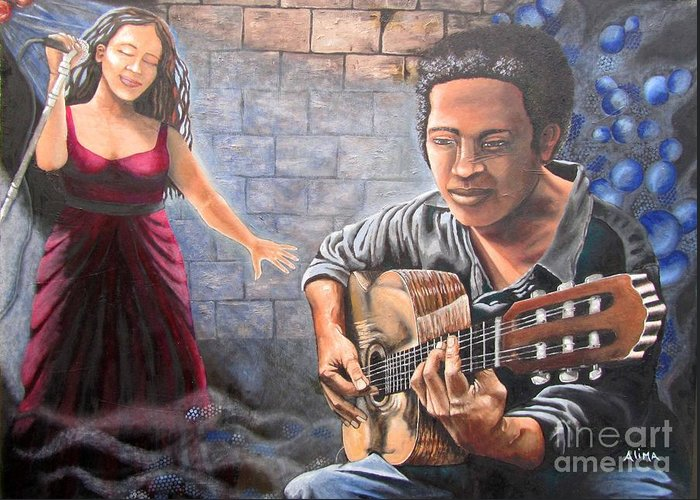 Jazz Greeting Card featuring the painting Soul Music by Alima Newton