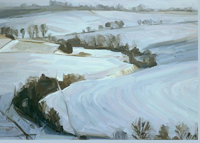 Zuid Limburg Greeting Card featuring the painting South Limburg Covered With Snow by Nop Briex