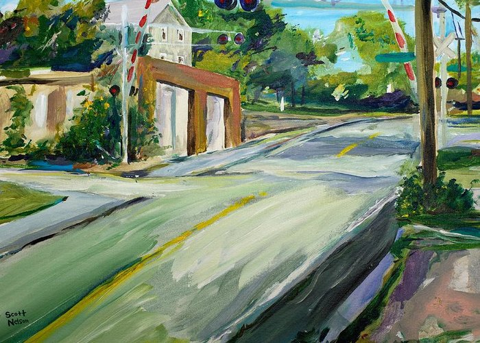 Millbury Greeting Card featuring the painting South Main Street Train Crossing by Scott Nelson