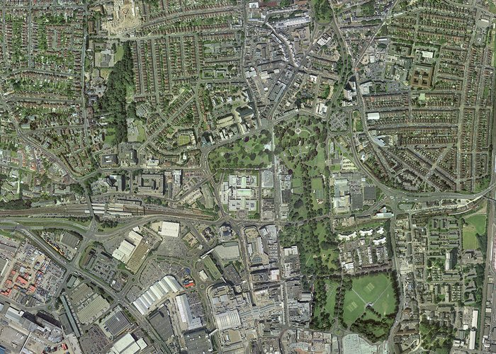 Southampton Greeting Card featuring the photograph Southampton,uk, Aerial Image by Getmapping Plc
