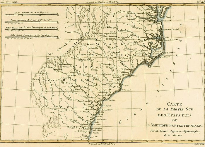 Engraving Greeting Card featuring the drawing Southeast Coast Of America by Guillaume Raynal