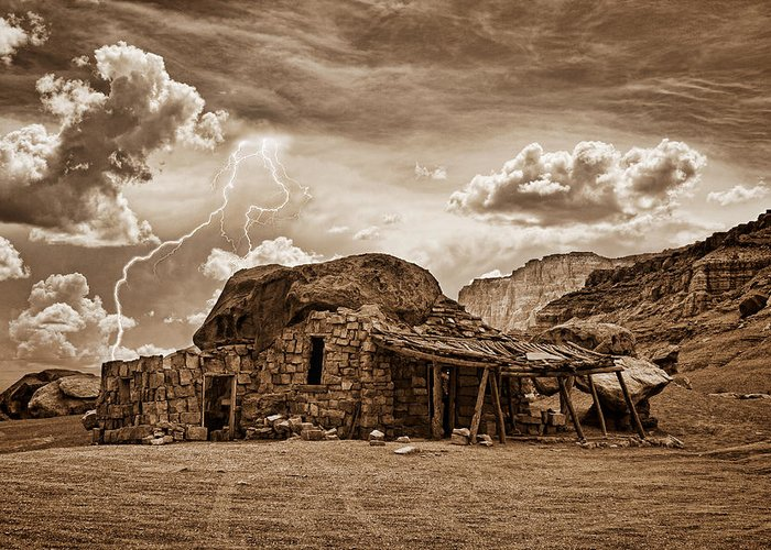 Lightning Strikes Greeting Card featuring the photograph Southwest Indian Rock House And Lightning Striking by James BO Insogna
