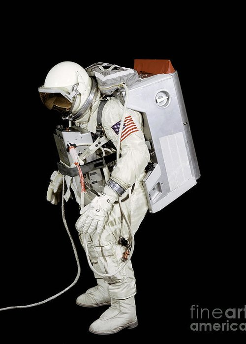 Black Background Greeting Card featuring the photograph Spacesuit Used By Gemini Viii by Stocktrek Images