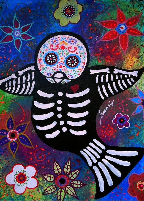 Ar Greeting Card featuring the painting Sparrow Day Of The Dead by Pristine Cartera Turkus