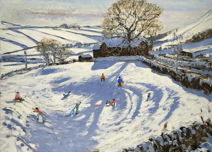 Winter Greeting Card featuring the painting Sparrowpit Derbyshire by Andrew Macara