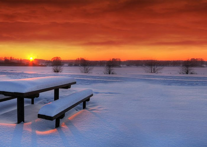 Beautiful Greeting Card featuring the photograph Spectaculat Winter Sunset by Jaroslaw Grudzinski