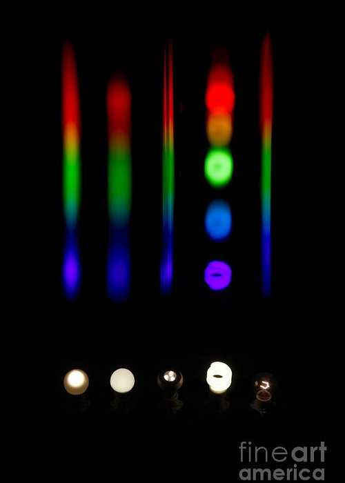 Atomic Greeting Card featuring the photograph Spectra Of Energy Efficient Lights by Ted Kinsman