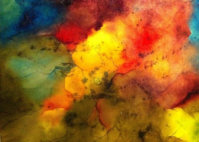 Abstact Greeting Card featuring the painting Spectrum II by Janice Elaine Cooper