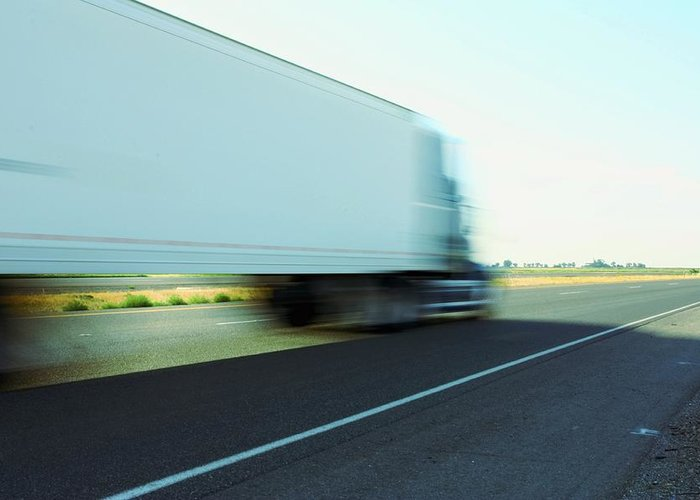 Abstract Greeting Card featuring the photograph Speeding Big Truck by Gregory Dean