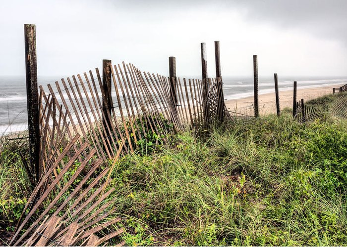 North Carolina Topsail Island Nc Beach Fence Dune Dunes Sand Surf Rainy Rainy Storm Storms Cloud Clouds Cloudy Coast Coastal Jacksonville Greeting Card featuring the photograph Spf 100 by JC Findley