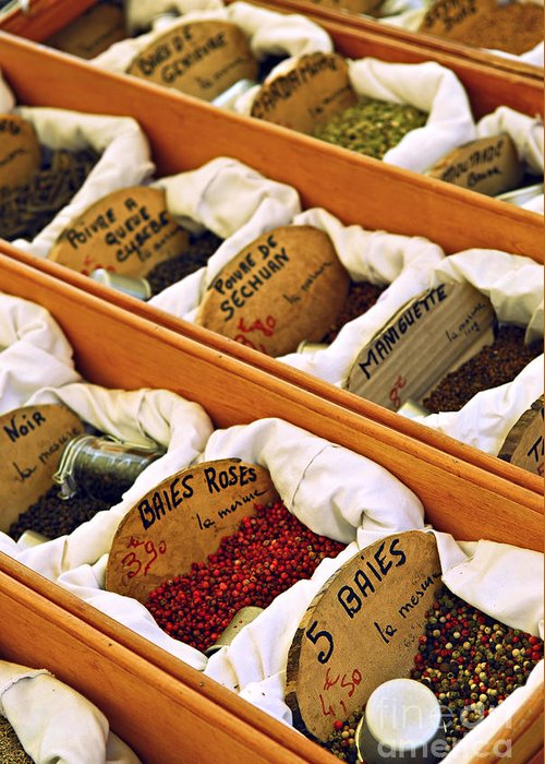 Spices Greeting Card featuring the photograph Spices On The Market by Elena Elisseeva