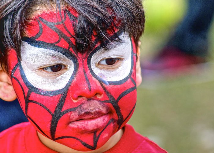 Face Painting Greeting Card featuring the photograph Spiderboy by Dieter Lesche