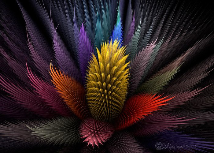 Abstract Greeting Card featuring the digital art Spiky Botanical by Peggi Wolfe