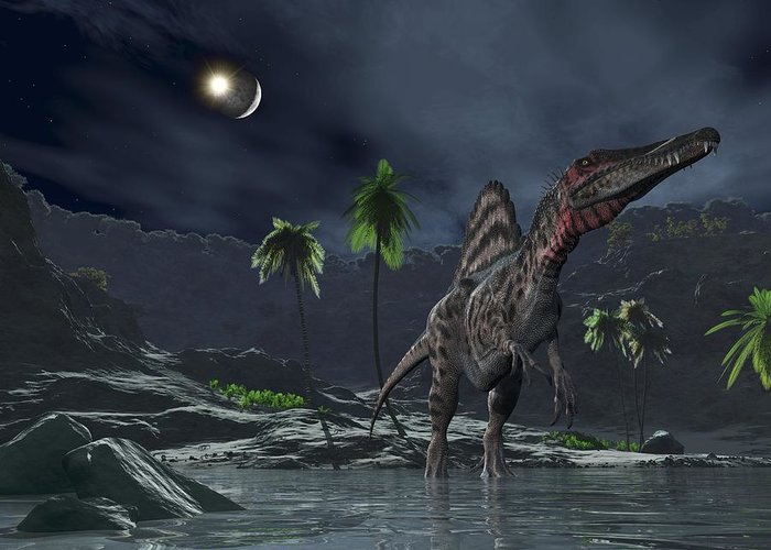Spinosaurus Greeting Card featuring the photograph Spinosaurus Witnessing A Lunar Impact by Walter Myers
